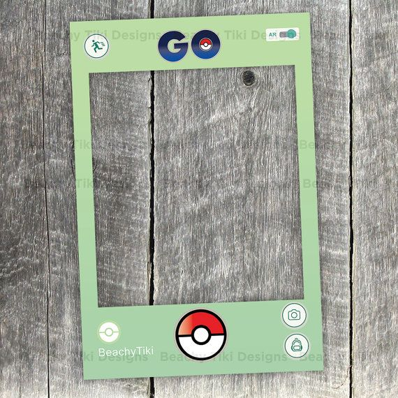 Pokemon Go Frame, Party Photo Booth Prop with Pokeballs, DIY Frame Cut Out, Social Media, App, Printable (Digital File) More