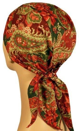Christmas Poinsettia Skull Cap Motorcycle Biker Doo Rag Ski USA Made Holiday  #SE #Headscarf