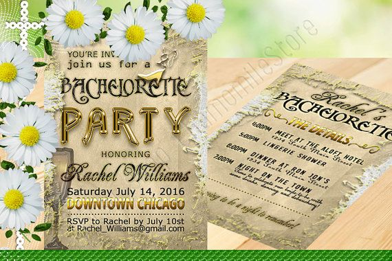 This affordable printable invite vintage is perfect for retro bachelorette party. The elegant styling of this vintage bachelorette party