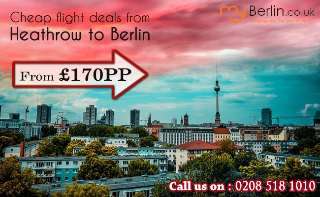 Flight deals from Heathrow to Berlin - MyBerlin: Search from a selective range of cheap & best flight deals from Heathrow to Berlin with http://www.myberlin.co.uk/berlin-holidays/london-heathrow-to-berlin.aspx. Book now to avail exciting offers on city, short or weekend breaks as well.