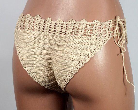 Crochet Beige Bikini Crochet Bottom Bikini by LoveKnittings