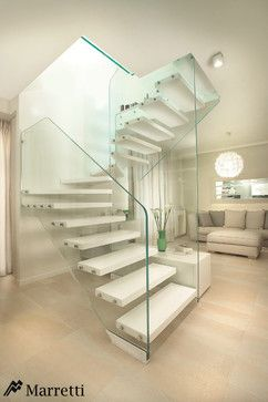 Staircase With A Glass Structure And Wooden Steps By Marretti, Made In  Italy Stairs