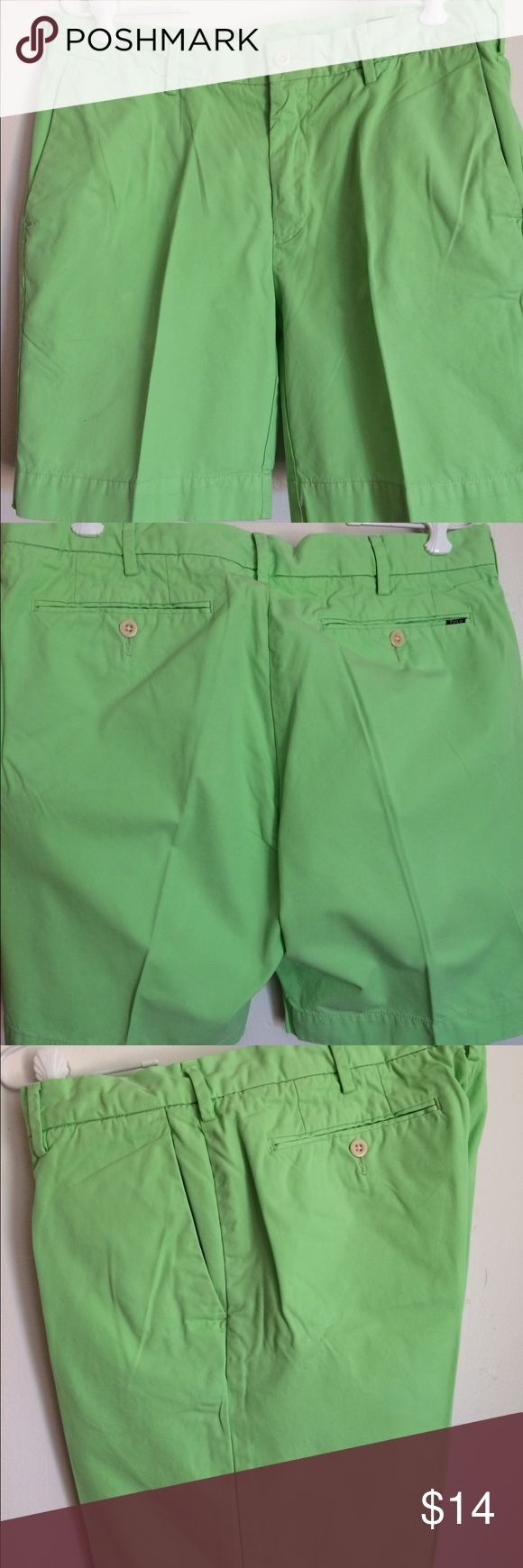 """Polo men's shorts lime green straight fit 33 waist Preppy lime green shorts perfect for the fairway and the beach! Front and back pockets, front zipper and inside button.  Straight fit, flat front.  100% Pima cotton. Note - there is a small cluster of light stains on the right leg as shown in photo. Waist laying flat measures 16 inches, inseam is 8 inches, front rise is 9 1/2 inches and back rise is 15"""" Polo by Ralph Lauren Shorts Flat Front"""