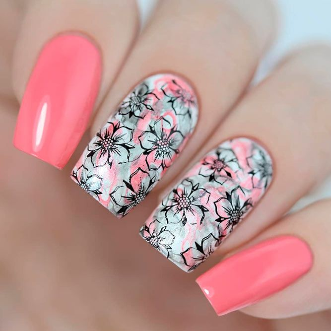 beautiful-flowers-nail-square-peach-black-stamping Top 14 Beautiful Flowers Nail Design Nail Art Gel Nails 2018 gel nails Gel Nail Designs 2018 designs art acrylic 2018