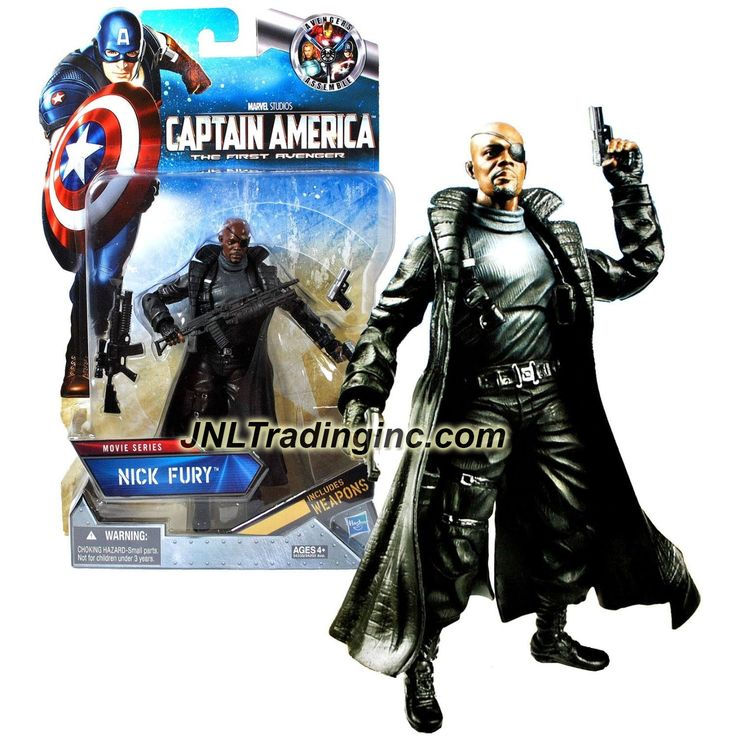 "Hasbro Year 2011 Marvel Captain America The First Avenger Series Exclusive 6"" Tall Action Figure - Movie Series NICK FURY with Assault Rifles & Guns"