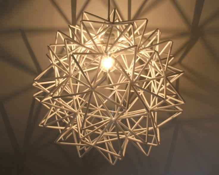 The Orion Pendant - White Himmeli Inspired Geometric Spherical Hanging Lamp by AsterandQuail on Etsy https://www.etsy.com/ca/listing/185137105/the-orion-pendant-white-himmeli-inspired