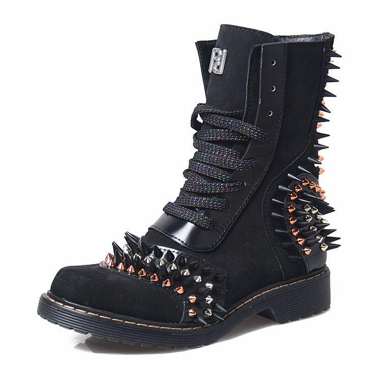 <b>Prova Perfetto</b> Punk <b>Style</b> Spikes Genuine Leather Women High ...