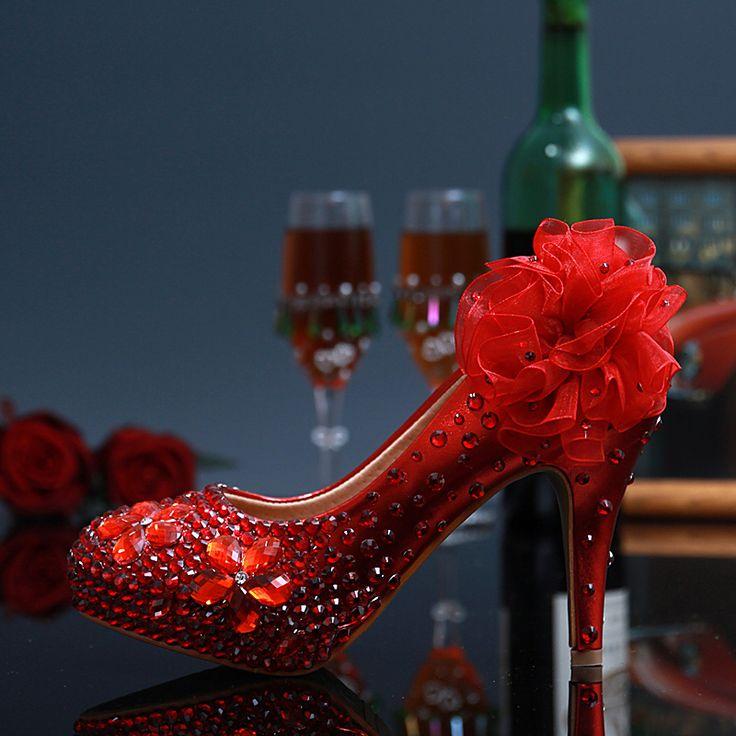 Традиционный красный цветок свадебные туфли горный хрусталь ручной работы свадебные туфли 10 см удобные высокие каблуки дочь выпускного вечера обувь