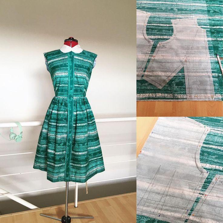 New shirtwaist dress in the making, part 2. The collar is still just a muslin. PL: Nowa szmizjerka się szyje, część 2. Kołnierzyk to nadal próbka. #sewing #instasew #vintagesewing #1950s #1960s #cotton #handmade #creativity #diy #love #hobby #shirtwaist #cute #dress #szycie #krawiectwo #rękodzieło #szmizjerka #bawełna @lenahadder #wykrój #sukienka #modaretro #wroclawszyje