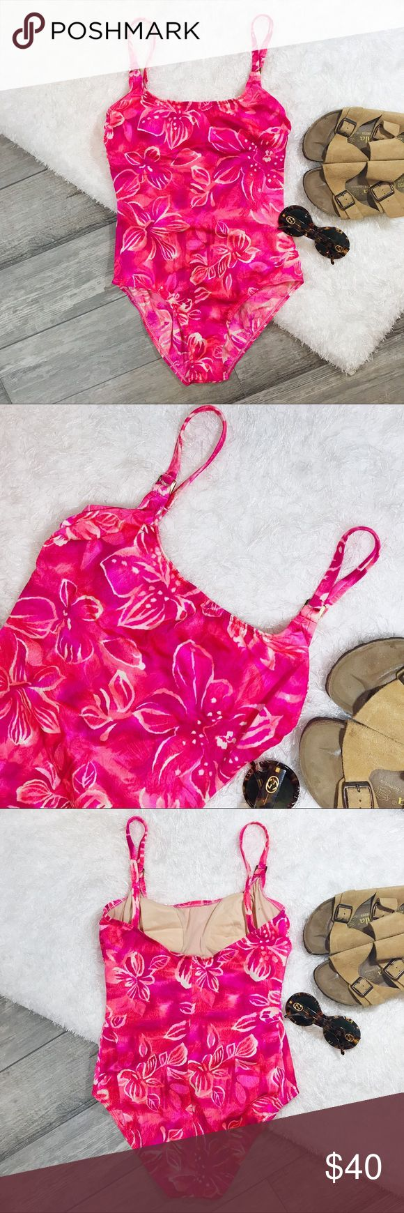 VINTAGE Athena Hawaiian Theme One Piece Swimsuit Beautiful Vintage one piece, vibrant pink floral Swimsuit with gold hardware. Nylon & spandex, so it has nice stretch- super flattering! Size 12, APPROX measurements: 13in side seam, 14.5 in chest, 14.5in L straps, 24.5in from bottom of strap to end of crotch. Excellent Vintage condition Vintage Swim One Pieces