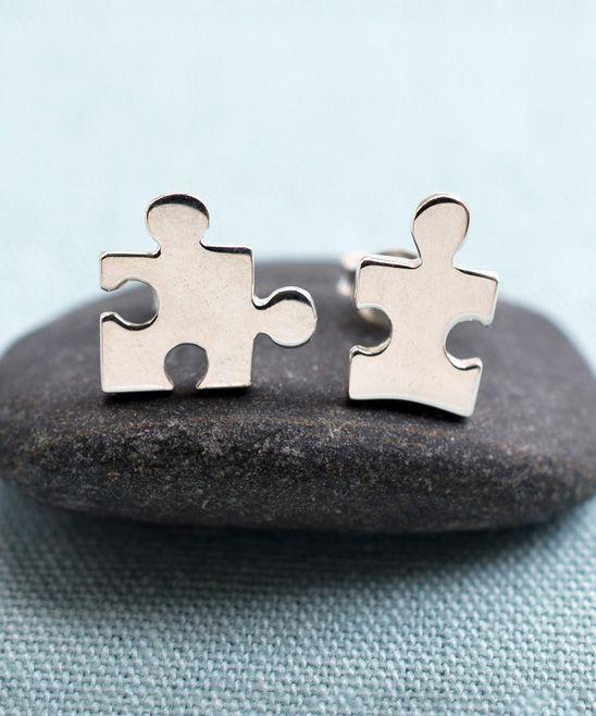 Sterling Silver Jigsaw Stud Earrings