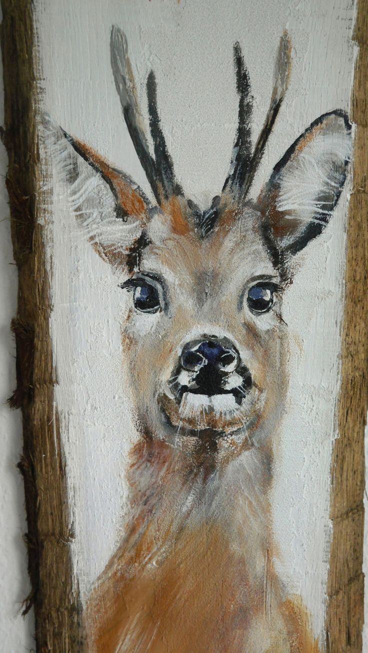 Acrylic painiting on wood, Reh auf Holz, white, brown, black,weiss, deer on wood by Beate Frieling by ColorbyBeate on Etsy