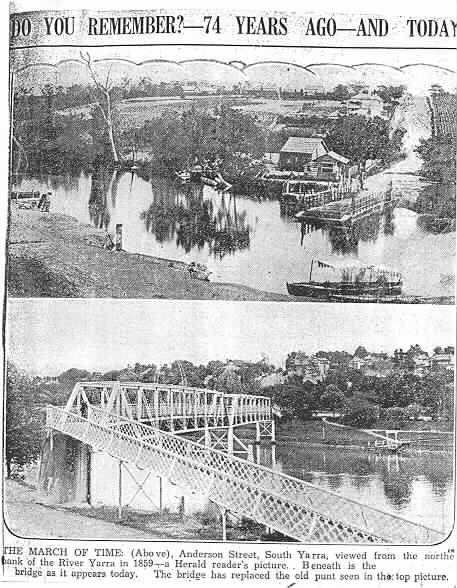 PH 8536. Footbridge and punt across the Yarra looking south across the river, up Punt Road hill; c.1933. The footbridge was later replaced by the Hoddle Bridge in 1938.
