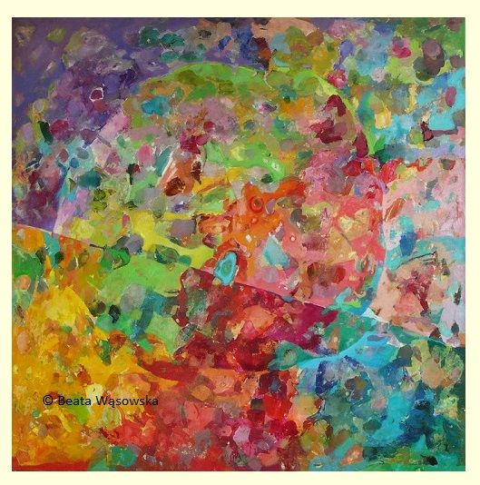 Beata Wąsowska, malarstwo Efekt motyla, 100x100cm, olej na płótnie nr kat. 26-06 [2006] #art  #womensart #polishart #malarstwo #malarstwoPolskie #krajobraz #malarstwoKobiet