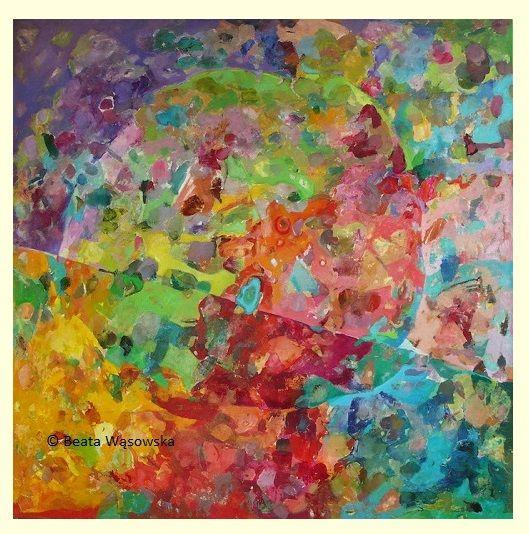 Beata Wąsowska, malarstwo Efekt motyla, 100x100cm, olej na płótnie nr kat. 26-06 [2006]