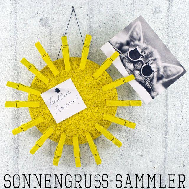 Mit dieser tollen Sonne kannst Du alle Urlaubskarten sammeln und präsentieren. Und das Beste daran: Sie ist super schnell gemacht! Ein DIY von johannarundel.de