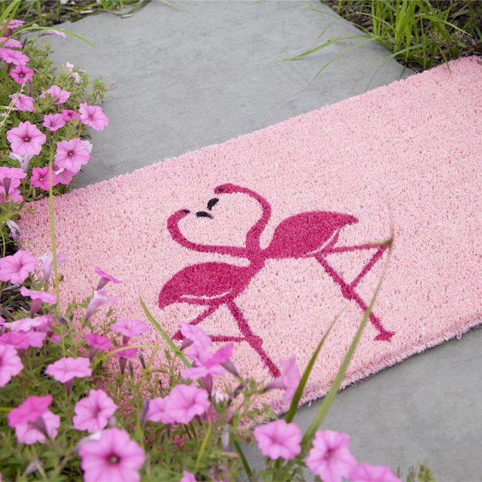 Flamingos Handwoven Coconut Fiber Doormat Decor | Wayfair - pink door mat - two flamingos make a heart