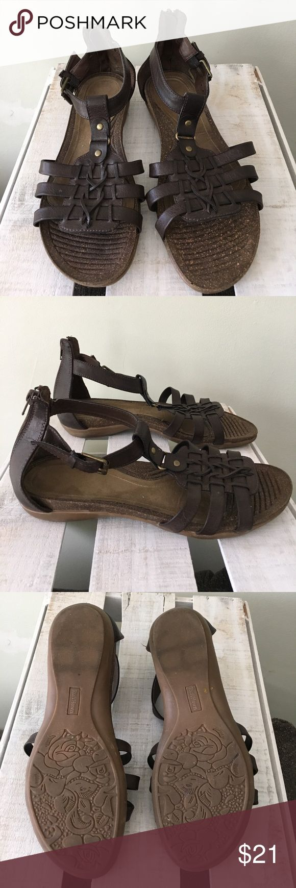 Ruff Hewn Dandy Sandals In good condition. Flat Sandals w/ braided detail and back zipper. Size 9M ruff Hewn Shoes Sandals