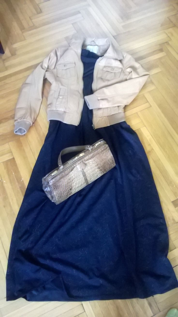 Vintage 70s maxi dress with gold accents, croc purse & leather jacket