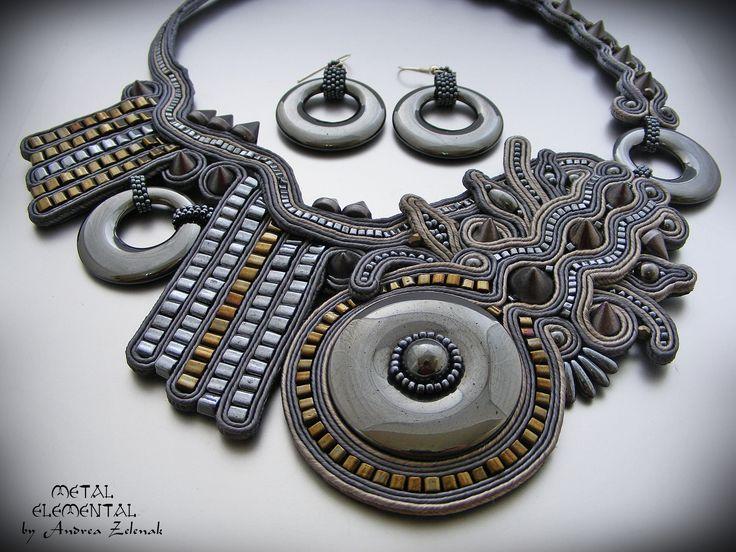 Soutache necklace - Metal - Andrea Zelenak