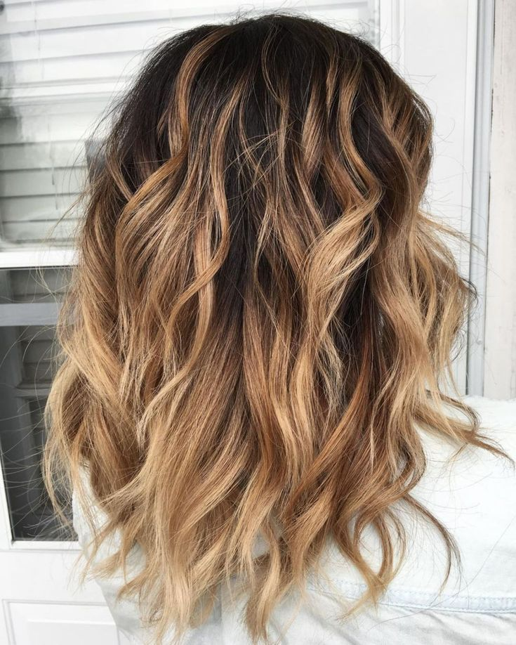 Mid Length Layered Hairstyle With Tousled Waves Thick Wavy Hair Thick Hair Styles Mid Length Hair With Layers