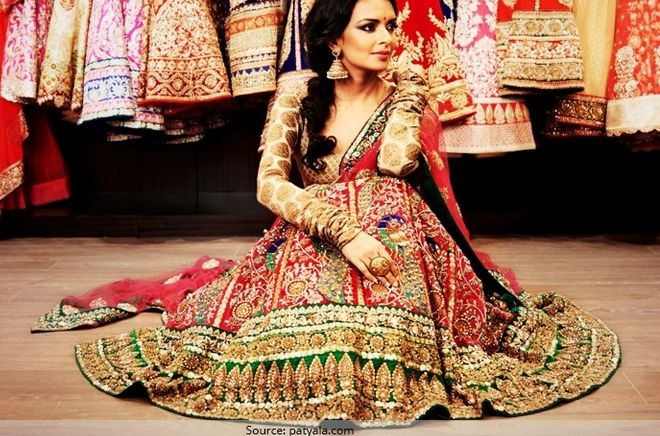 Traditional Heavy Lehenga with Embroidered Borders and Brocade