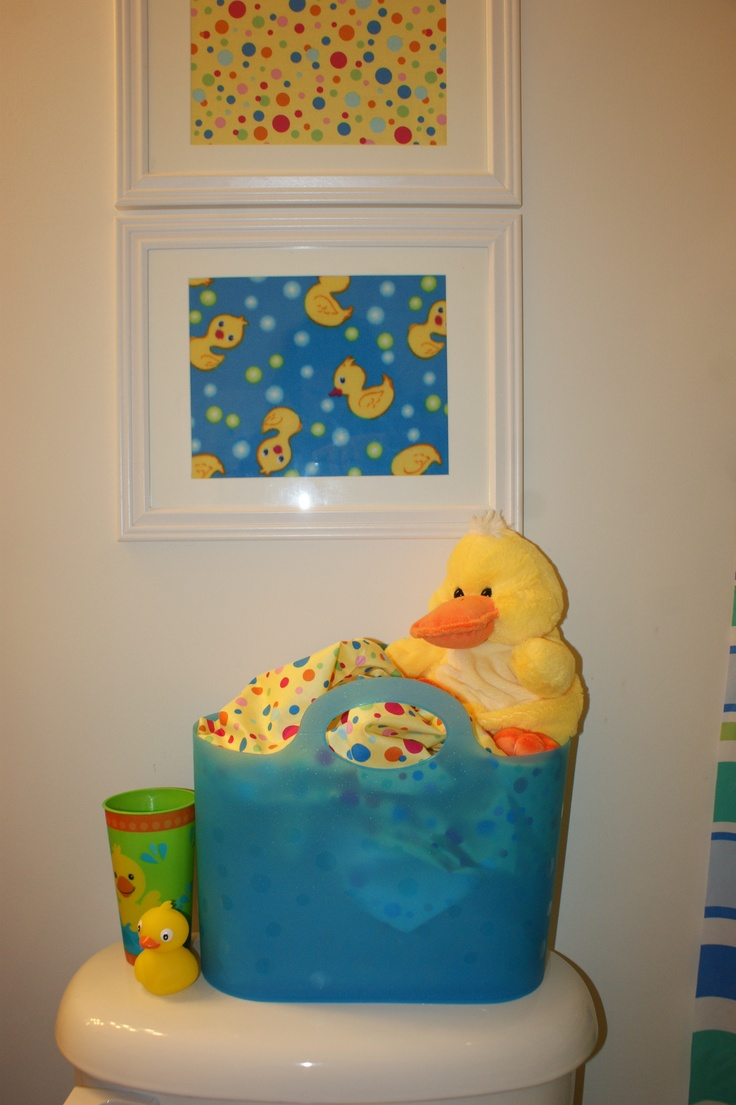 Rubber Duck Bathroom Decor - Framed fabric for duck bathroom pictures