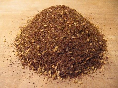 Za'atar:  1 cup of dried wild thyme *     1/4th cup of dried marjoram (optional)     3/4th cup of ground sumac spice     3/4th cup of sesame seeds ...