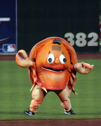 Nightmare Fuel: Baseball Mascots - Baseball Mascots: They get the crowd pumped for the game, they rally the home crowd for a come-back and dance a jig when you victory is obtained, but sometimes, what they are, (whatever they are), is sometimes so distracting and upsetting that it's positively disturbing on an emotional level.