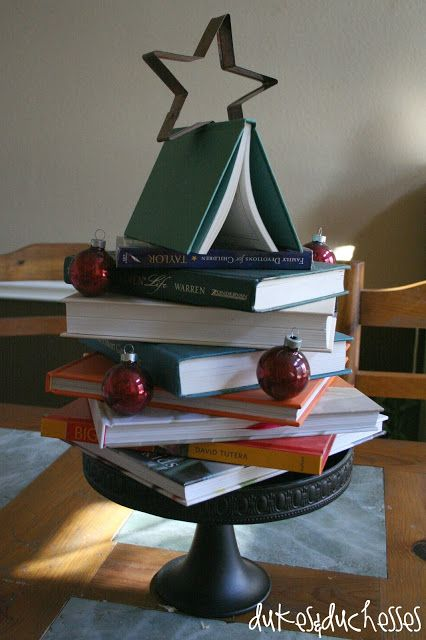 Christmas tree made from books: