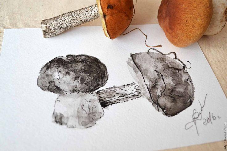 """Купить Триптих """"Грибные заготовки"""", картина, графика, недорого - черный, грибы, картина в подарок"""