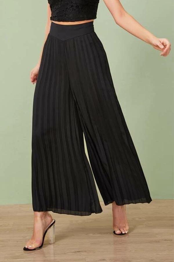 Solid Paneled Casual Pleated Wide Leg Pants in 2020 (met