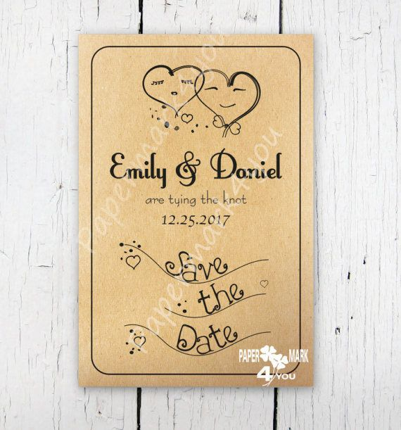 Kraft Rustic Save The Date_Request Custom by PaperMark4You on Etsy