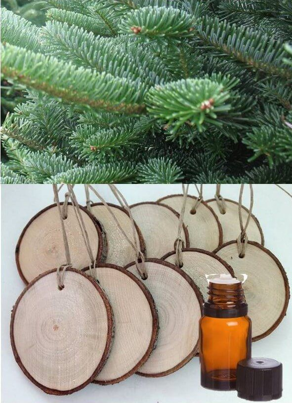 Perfect for a gift tag or ornament. Add a few drops of white fir or douglas fir essential oil and even your artificial tree will smell like it was just cut fresh from the Christmas tree farm. Add a couple more drops of essential oil every few days as needed.
