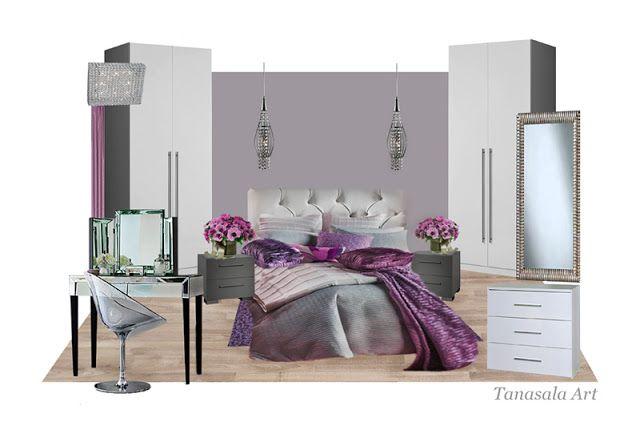 Интерьер спальни в оттенках розового и фиолетового цветов