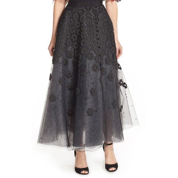 Sachin & Babi Noir 'Alvin' Floral Tulle Ball Skirt ($795) ❤ liked on Polyvore featuring skirts, jet, long tulle skirt, full length tulle skirt, ball skirt, black tulle maxi skirt and long black skirt
