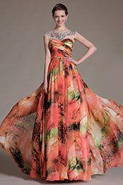 eDressit Printed Sheer Top Round Neck Prom Dress (02143768)