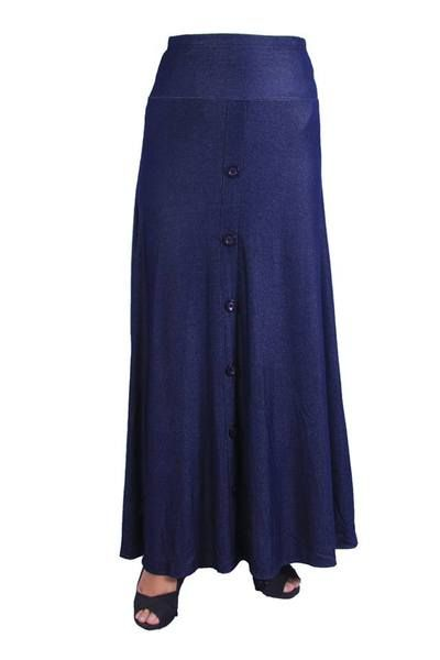 Skirt  Code F05192.  SKIRT (FLARE BOTTOM SKIRT) Size : All Size,XL,XXL Colour : Black ,Darkblue MATERIAL : KNITTED JEANS