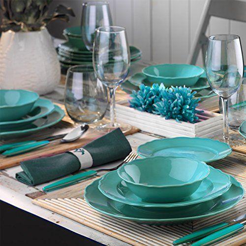 Lujo piezas 24 piezas Vajilla Kütahya Porcelana essservice Plato Set boda Compromisos Cumpleaños turquesa