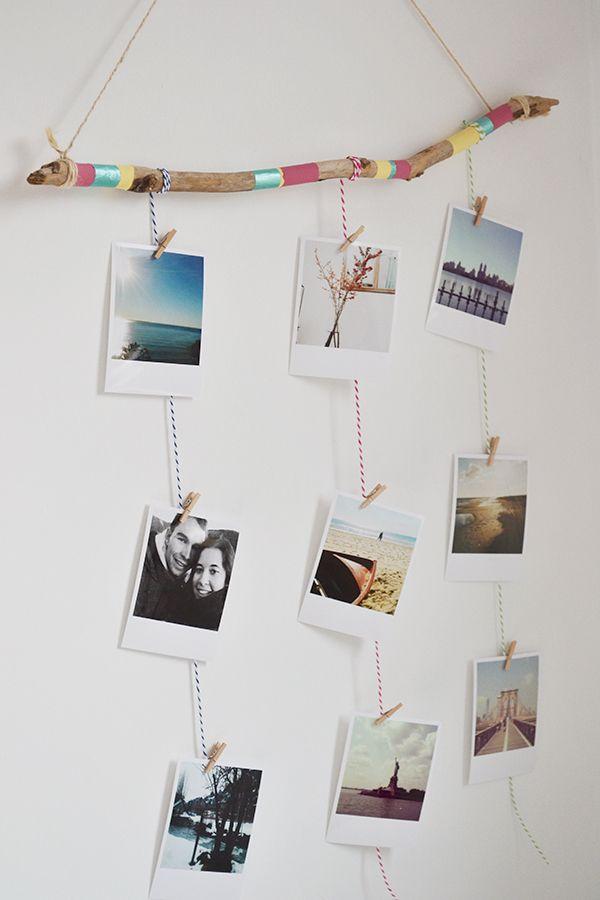 Un marco de fotos hecho con una rama y fotos de Printic*