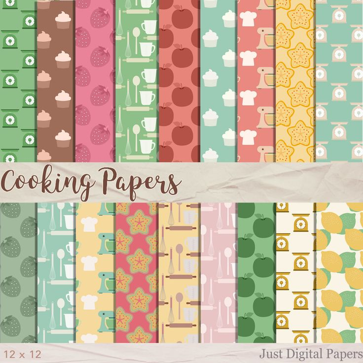 Cooking Papers, Baking papers, Food papers, Fruit Paper, Digital Paper, Scrapbook Paper,  Instant Download, Kitchen Papers by JustDigitalPapers on Etsy
