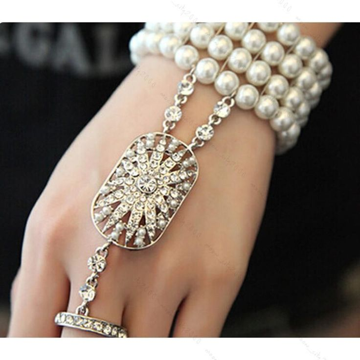 HOT 1920'S Great Gatsby Daisy Pearl Bracelet Ring Bridal Charleston Accessories | eBay