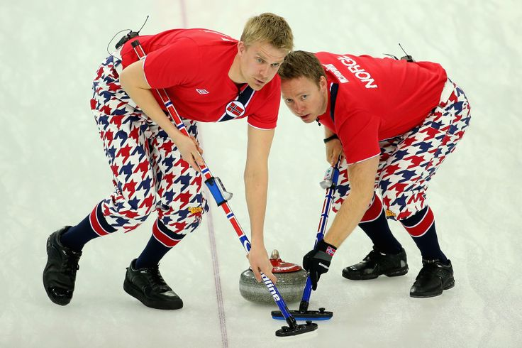 Haavard Vad Petersson and Torger Nergaard of Norway compete in the Curling Men's Round Robin match between Norway and Germany (c) Getty Images