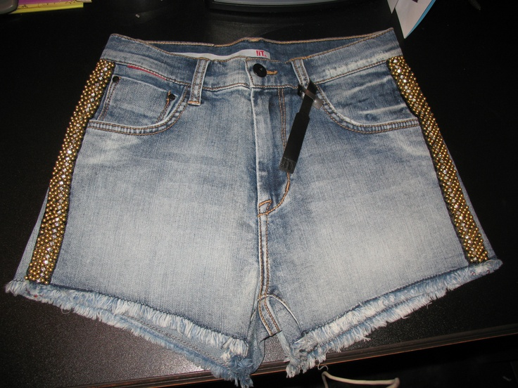 Gold and Diamond stud jean shorts- $68.00