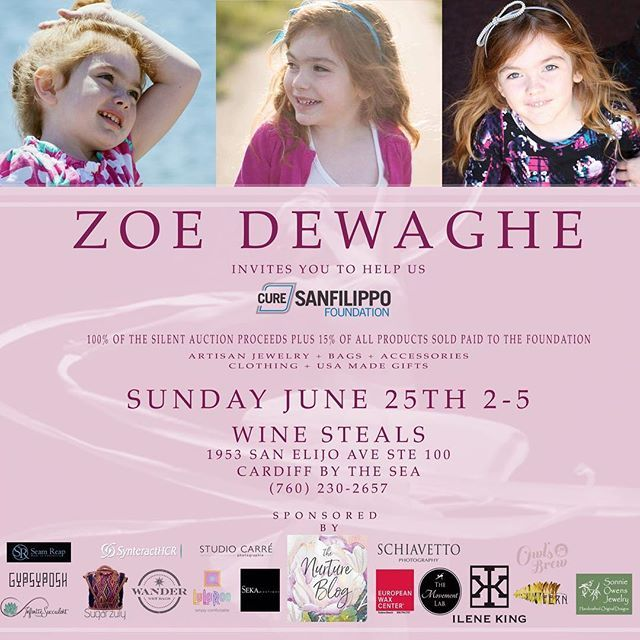 A BIG Thank-You to all the ladies who opened their hearts to donate silent auction items for Zoe's Fundraiser tomorrow @winestealscardiff from 2pm to 5pm. All are welcome. Please come and contribute to curing Sanfillippo Syndrome. 💖 Silent Auction Items include: 1. Gypsy Posh-Necklace and Earrings Set (valued at $100) 2. Pigtails and Crew Cuts-Shampoo/Conditioner/Candy Basket (valued at $30) 3. Fair en Del-Gift Card and Jewelry Basket (valued at $125) 4. Synteract-Gift Card and Swag (Valued…
