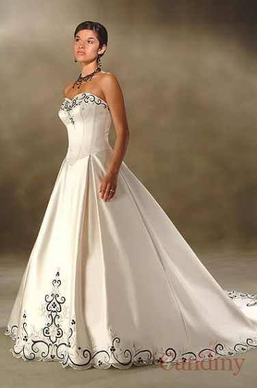2010 Ivory A Line Lace Up Embroidery Chapel Train Duchess Satin Wedding Dress Bride Pic 1