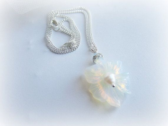 Lily flower pendant necklace opalite by MalinaCapricciosa on Etsy