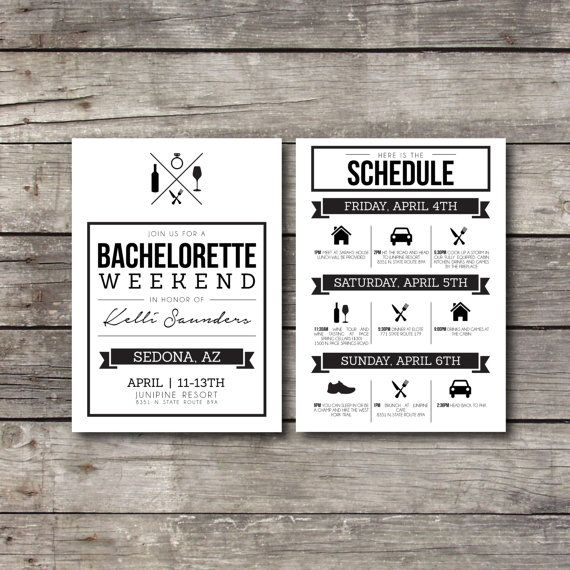 Bachelorette Weekend Invite and Schedule - Customizable - Digital Ready to Print