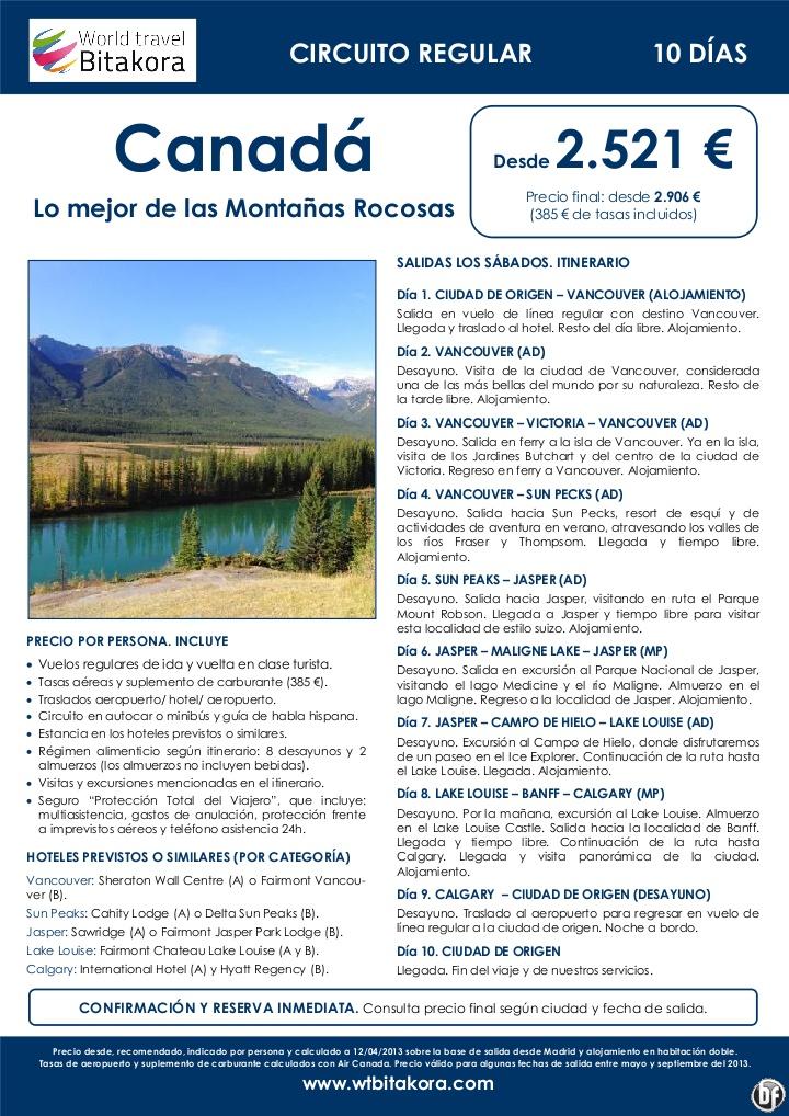 CANADÁ: Lo Mejor de las Montañas Rocosas. 10 días/ 8 noches, desde 2.521 € (+tasas) - http://zocotours.com/canada-lo-mejor-de-las-montanas-rocosas-10-dias-8-noches-desde-2-521-e-tasas/