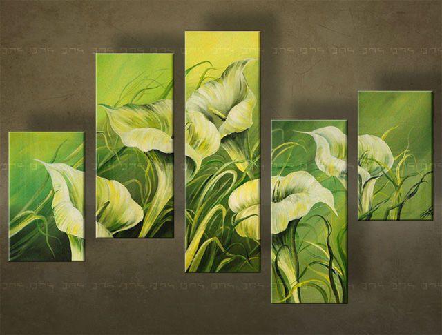 Ručně malovaný obraz KVĚTINY 5 dílný 5183FA